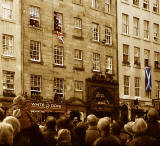Crowds in the Royal Mile on the day of the Official Opening of the Scottish Parliament -  9 October 2004