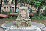 Stones from the Sinclair Fountain, installed at Steadfastgate, beside Gosford Place, Bonnington, Edinburgh