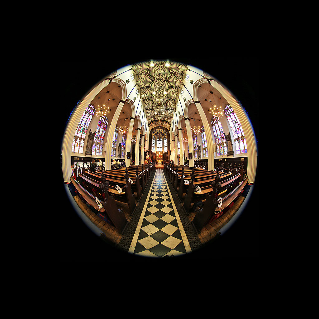St John's Church, Edinburgh West End, looking forward  -  Photo taken with a fisheye lens  -  November 2014