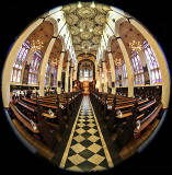 St John's Church, Edinburgh West End, looking east  -  Photo taken with a fisheye lens  -  November 2014