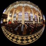 St John's Church, Edinburgh West End, looking north  -  Photo taken with a fisheye lens  -  December 2014