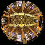 St John's Church, Edinburgh West End, looking up  -  Photo taken with a fisheye lens  -  November 2014