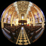 St John's Church, Edinburgh West End, looking west  -  Photo taken with a fisheye lens  -  December 2014