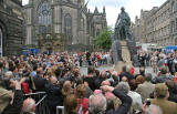Unveiling of Statue of Adam Smith, beside the Mercat Cross in the Royal Mile  -  July 4, 2008