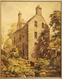 Upper Spylaw Mill  -  Edinburgh Merchant Company  painting  -  Looking up at the Mill from the Water of Leith