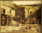 Upper Spylaw Mill  -  Edinburgh Merchant Company painting  -  Hens in the yard