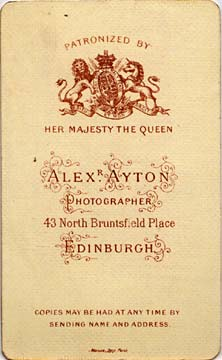 Alex Ayton jun  -  Carte de Visite  -  No 2  -  back