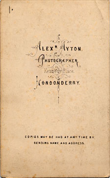 Alex Ayton jun  -  Carte de Visite  -  No 4  -  back