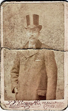 A carte de visite from the studio of T J Bonne.  The subject is George Wilson, son-in-law of the early Edinburgh Photographic Artist, James Hodges.