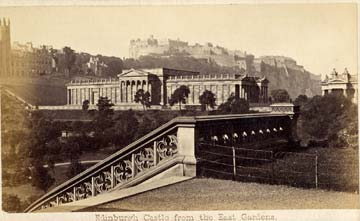 Carte de Visiet of Edinburgh Castle and the National Gallery of Scotland from East Princes Street Gardens  -  front