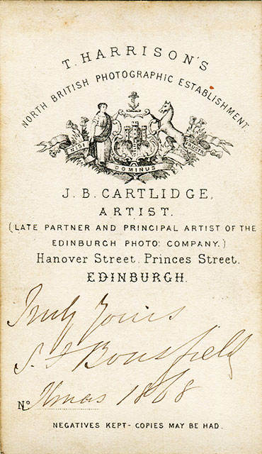 The back of a carte de visite from the studio of Jb Cartlidge, Edinburgh
