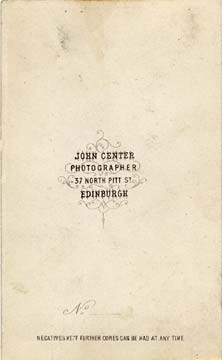 Carte de Visite by John Center  -  1 (back)