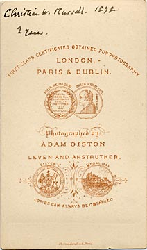Back of a carte de visite by Adam Diston  -  1877-1882  -   Girl
