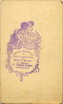 Carte de visite No 1  -  by John Gordon -  back