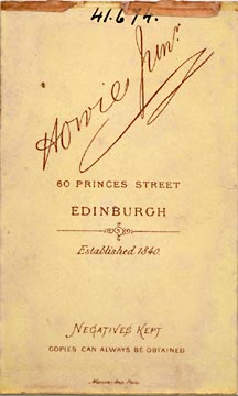 Back of a carte de visite by J Howie Junior, showing date established 1840