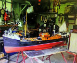 Model trawler, 'BONNIE JEAN', built by Dave Ferguson who has written several poems about Granton including