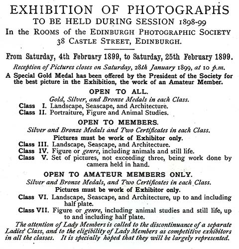 EPS Exhibition - February 1899  -  Classes and Medals