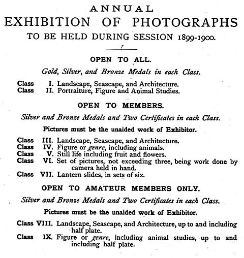 EPS Exhibition  -  February 1900  -  Classes and Medals