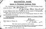 License to PHotograph Landscape Views in Holyrood Park  -  1922