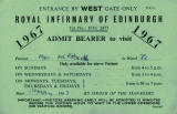 Royal Infirmary of Edinburgh  -  Visiting Card, 1967