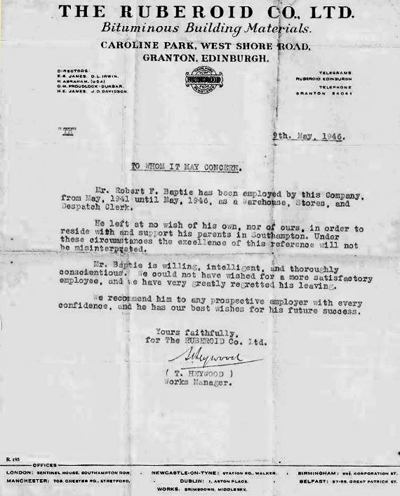 Letter from The Ruberoid Co Ltd, 1946