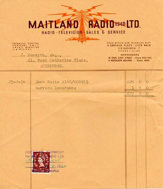 Maitland Radio  -  1954 receipt for Ekco A160 radio