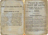 Permit to enter Port of Leith, 1939