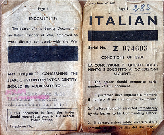 Mario Tozzi's Identity Document  -  Used at Prisoner of War Camp, Dalmahoy, Edinburgh  -  Pages 1+4