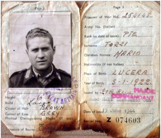 Mario Tozzi's Identity Document  -  Used at Prisoner of War Camp, Dalmahoy, Edinburgh  -  Pages 2 + 3