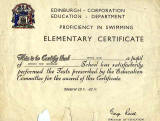 Edinburgh Corporation Education Department Swimming Certificate, awarded to Alan Fentiman, 1966-67