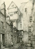 Old Houses in Edinburgh  -  Drawing by Bruce J Home  -  Brodie's Close