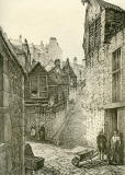 Old Houses in Edinburgh  -  Drawing by Bruce J Home  -  Baird's Close