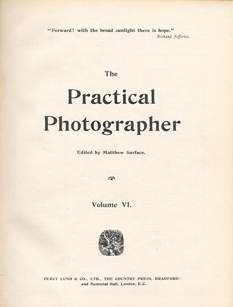 Photographic Journals  -  The Practical Photographer   -  1895  -  Title Page