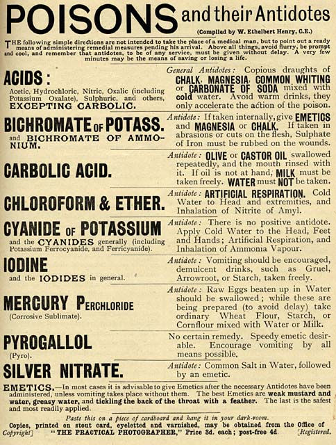Poison Notice - to be displayed in the darkroom  -  Published in The Practical Photographer -  1 July 1892