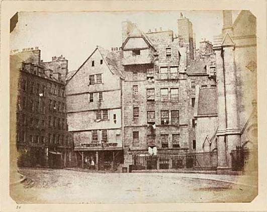 Photograph in Edinburgh Calotype Club album  -  Volume 2, Page 29  -  Head of West Bow
