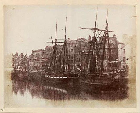 Photograph from the Edinburgh Calotype Club album  -  Volume 2, Page 65  -  Boats Moored at Leith