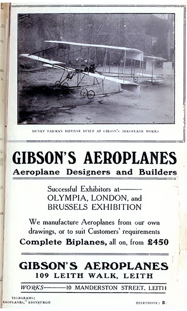 Gibson's Aeroplanes Advert - from Edinburgh & Leith Post Office Directory, 1910