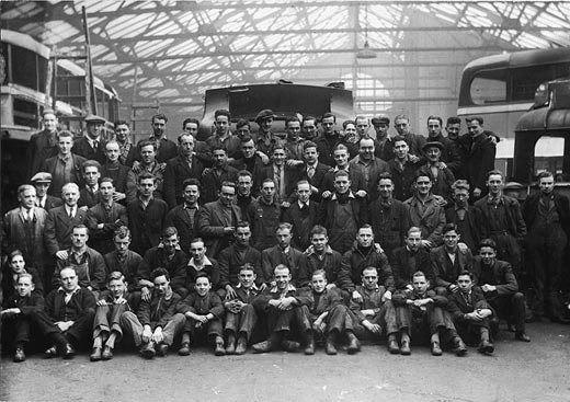 Workers at SMT Bus Depo, New Street, Edinburgh  -   the 1930s