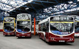 Lothian Buses at Central Depot, Annandale Street  -  Three Buses in the new livery, 2010
