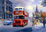 A Leyland PD3 bus leaves its bus stop in Princes Street in the 1960s