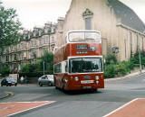 Lothian Region Transport  -  bus No 900, restored, turning from Queensferry Road into Orchard Brae