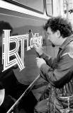 John Dickson painting the LRT prototype logo at Seafield Paintshop