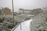 Looking down on Granton Square in the snow