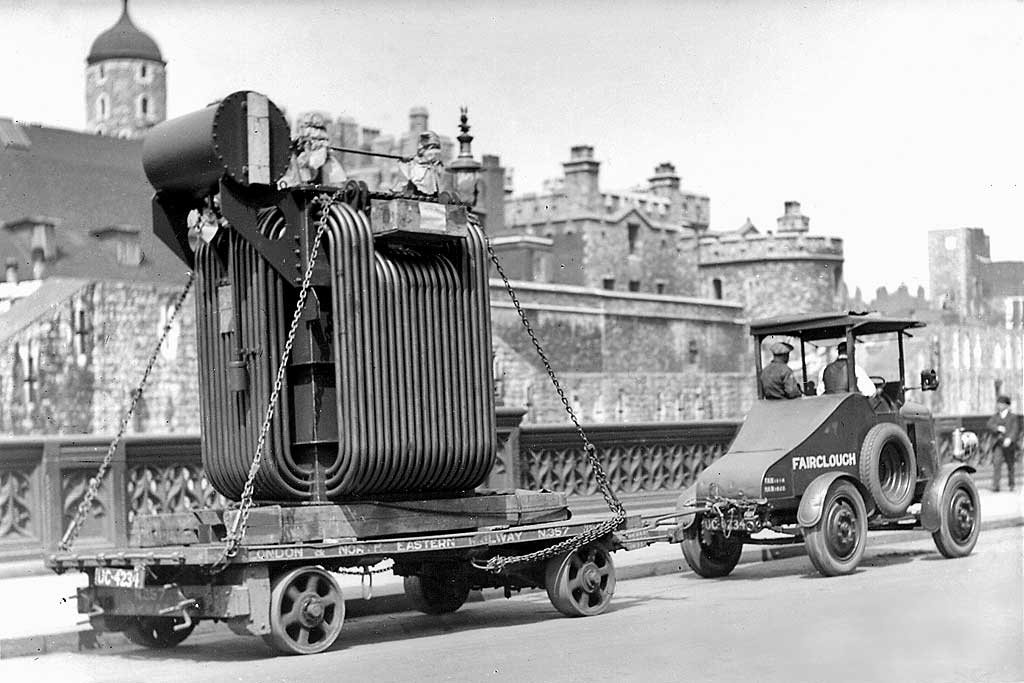 A transformer from Bruce Peebles' works in Edinburgh passes through London  in the early 1900s