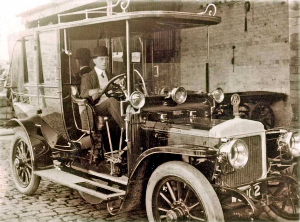 Robert Devlin in the driving seat of his father's Daimler