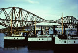 Ferries from the Queensferry Crossing, berthed at North Queensferry, following the opening of the Forth Road Bridge in 1964