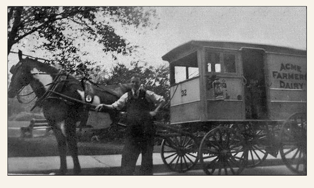 Doug Imrie's Great Grandfather delivering milk in Edinburgh for Acme Farms Dairy