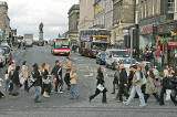 Pedestrians in Princes Street, crossing Hanover Street  -  September 2007  -  Exposure 1/100 sec.