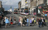 Pedestrians in Princes Street, crossing Hanover Street  -  September 2007  -  Exposure 1/8 sec