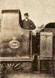 Archibald Veitch on the footplate of a North British Railway engine - around 1895